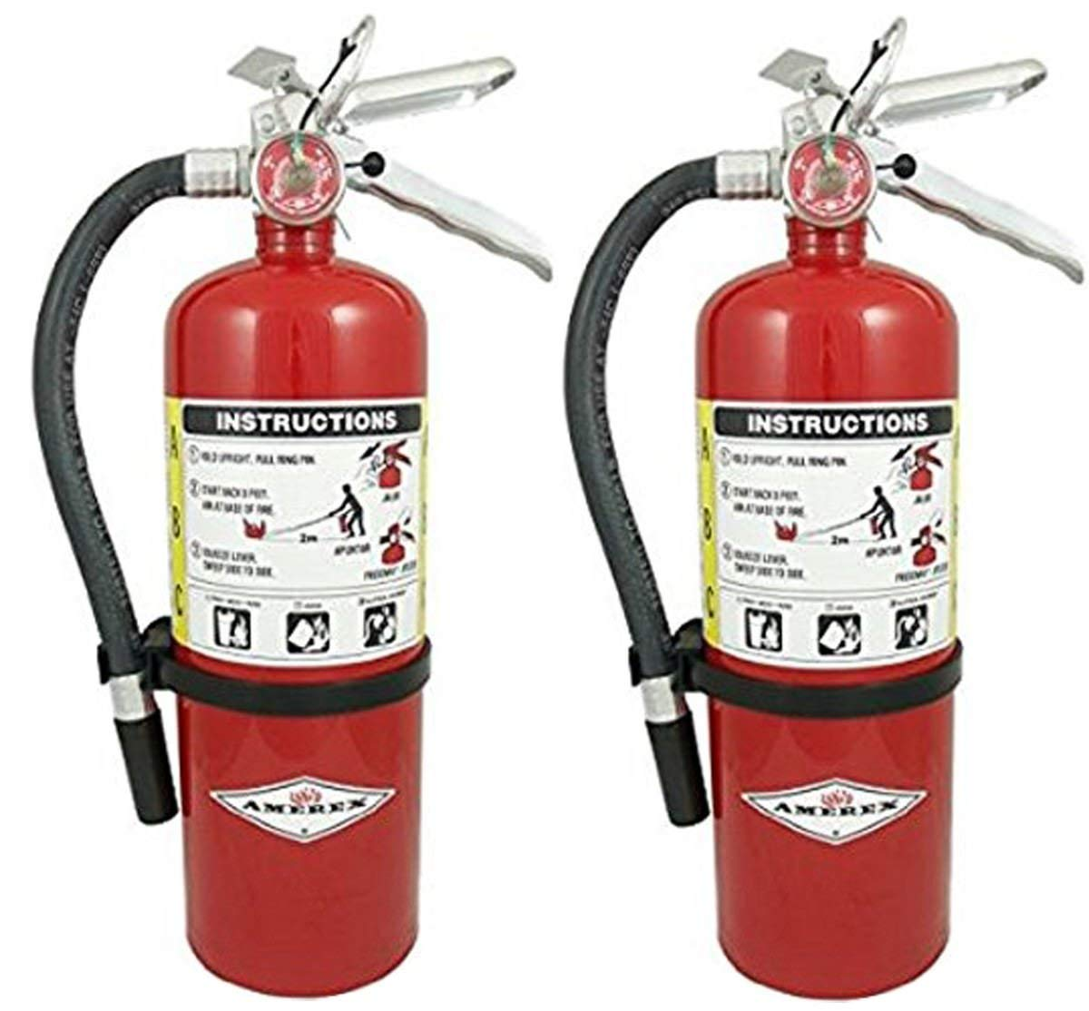 Amerex SDFAEBQ B500 ABC Dry Chemical Class A B C Fire Extinguisher, 5lb, 2 Pack