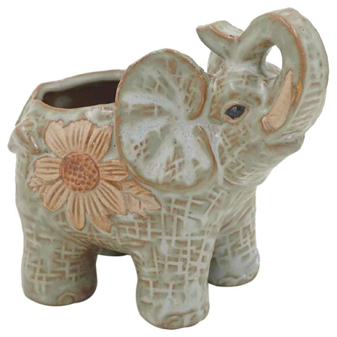 TOOGOO(R) Ceramic Mini Elephant Cacti Succulent Plant Pot Flower Planter Garden Home Decor