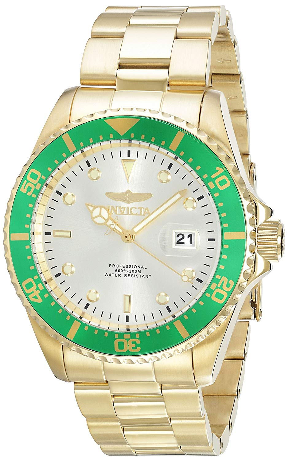 Invicta Men's 'Pro Diver' Quartz Stainless Steel Diving Watch, Color:Gold-Toned (Model: 22067)