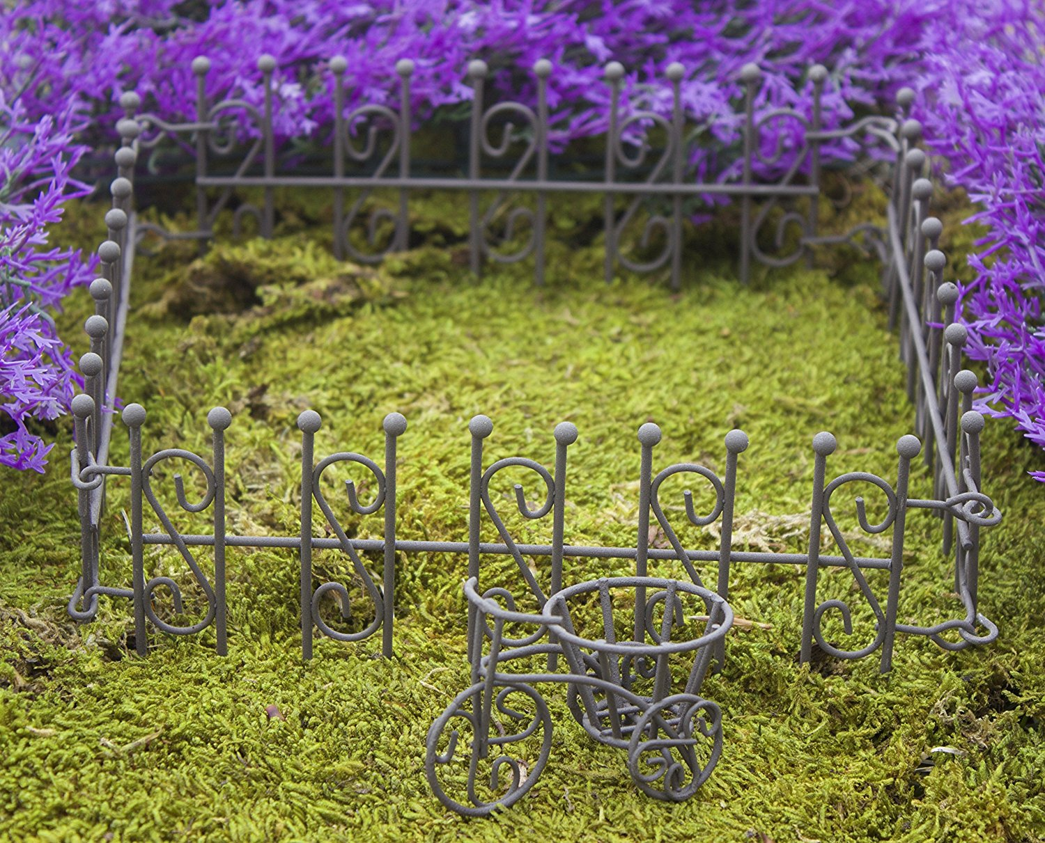 Bundle of 2 Miniature Fairy Garden Items - Rustic Iron Bicycle and Fence (Bicycle and Iron Fence)
