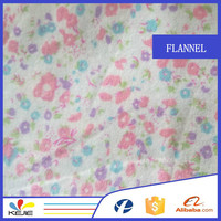 In Stock High Quality All Cotton Daisy Flower Printed Flannel Fabric for Baby