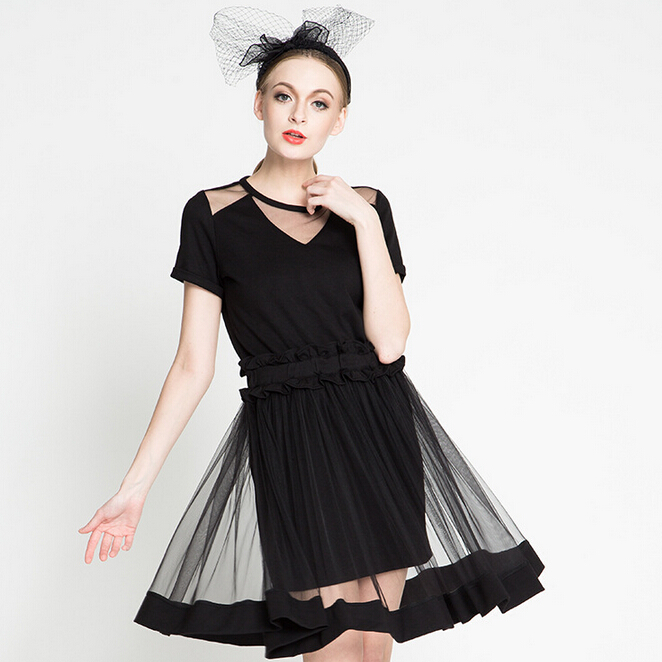 2015 Summer Style Women's Sexy Dress Perspective Mesh Dresses V Collar Pendulum Elastic Waist Gauze Dress Club Dresses Red Black