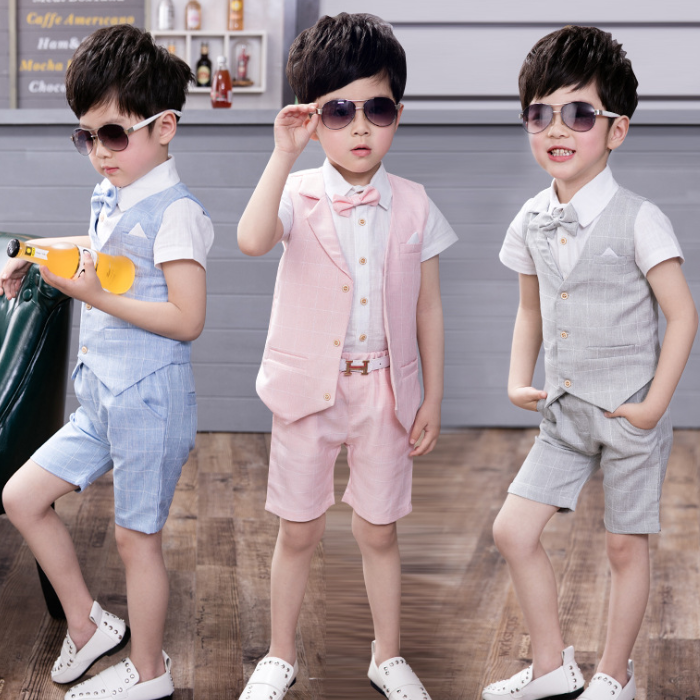 KS10098B 2018 new design children 4 pieces clothing sets fashion boys formal suits