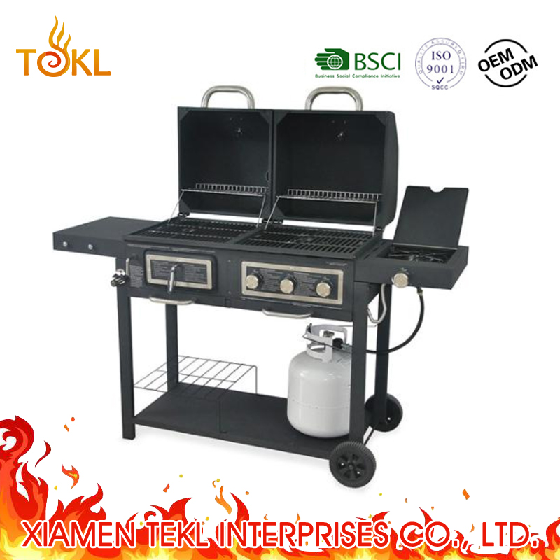 Gas Charcoal Combo Bbq Grills With Side Burner For Outdoor Kitchen Cooking