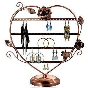Copper Color Heart-Shaped Earring Holder Tree Oraganizer / Earring Stand Display