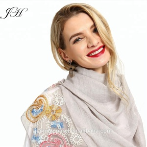 2018 New Design High Quality Soild Cotton Patchwork Lace Embroidery Pearl Scarf Women Hijab Muslim Ladies Beads Shawls Wraps