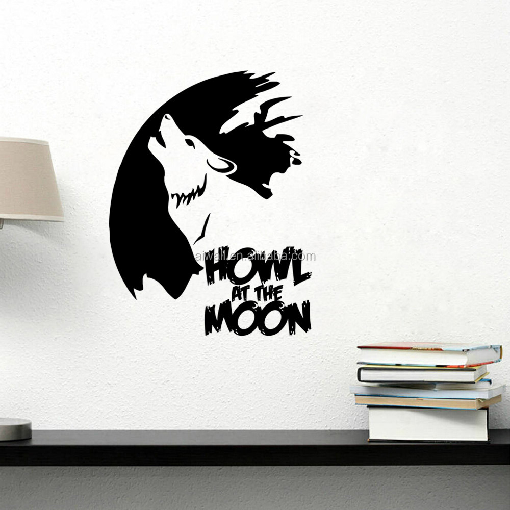 9177 wolf howl wall stickers in the moon funny cartoon animal wall decals custom beautiful wall decor vinyl decal sticker