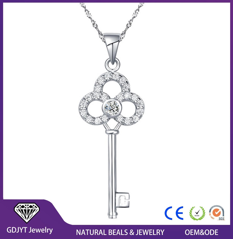 Hot Key Pendant Necklace Stone 18k Gold / Silver Plated Floating Charm Wedding Necklaces for Women
