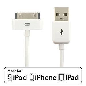 Apple 30 Pin USB Cable EZOPower CERTIFIED 6 Feet 30-pin USB Sync & Charge Dock Connector Data Cable / White (Retail Packaging) For Apple iPad 1, 2, iPhone 3 3s 4, iPod Touch, iPod Nano