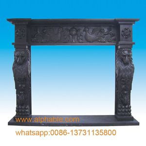 Decorative Black Marble Fireplace Mantel With Lions Head