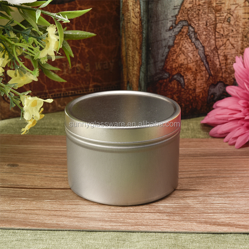 Silver tealight candle jar, round tin candle container with lid