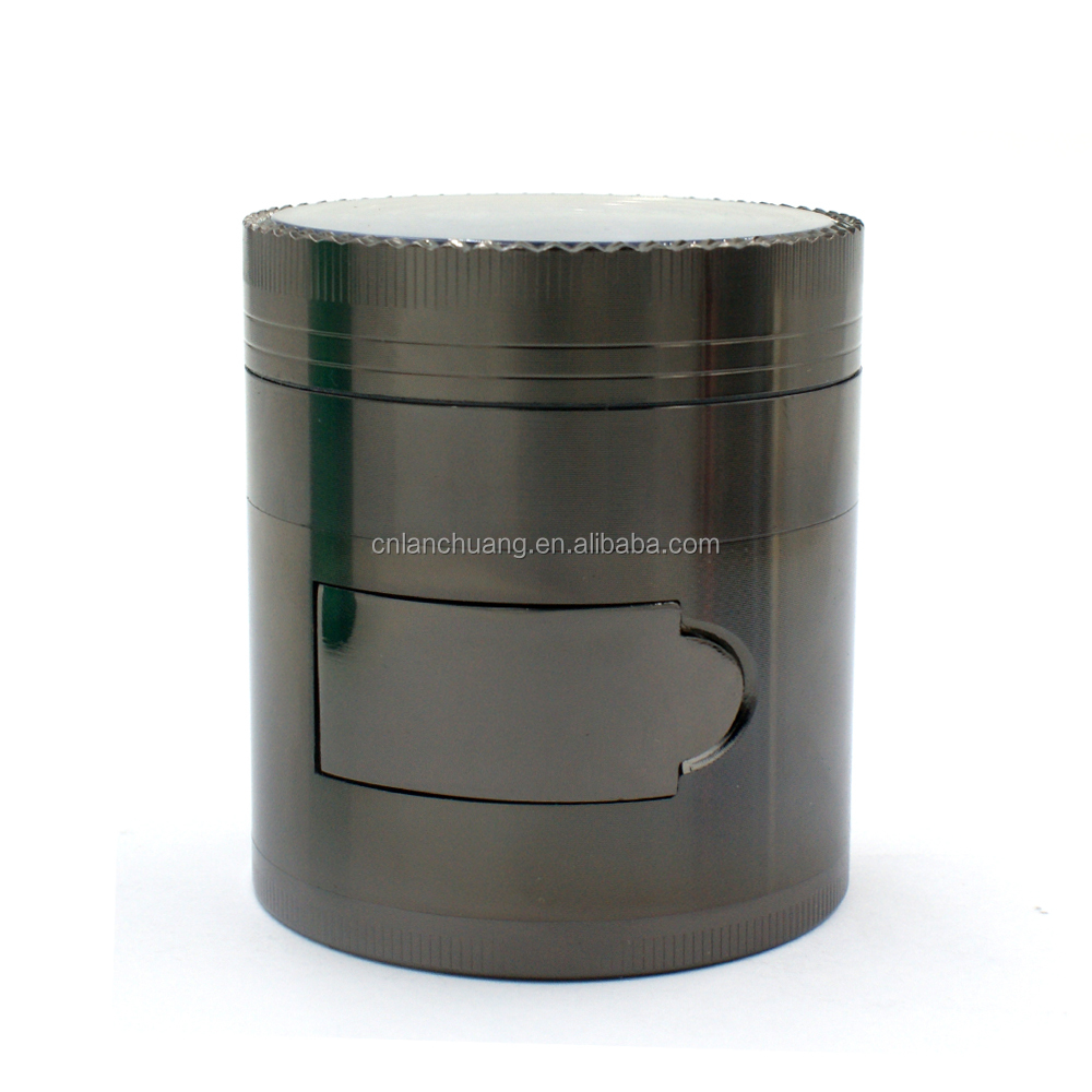 63MM Zinc Alloy 4 Parts Concave Smoking Herb Grinder With Side Window Opened Tobacco Grinder Weed Grinder With Customized Logo