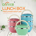 Personalized colorful stainless steel 3 layer lunch box bento food container with handle