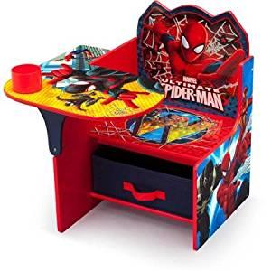 Delta Children Spider-Man Chair Desk with Storage Bin, Red