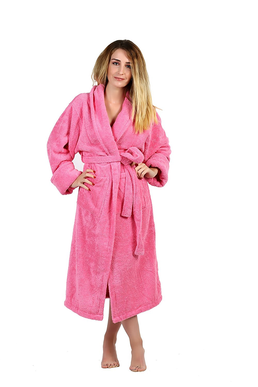 7ac7b88a0d Get Quotations · All Design Towels Pure Turkish Cotton Kimono Terry Shawl  Collar Solid Women s Bathrobes