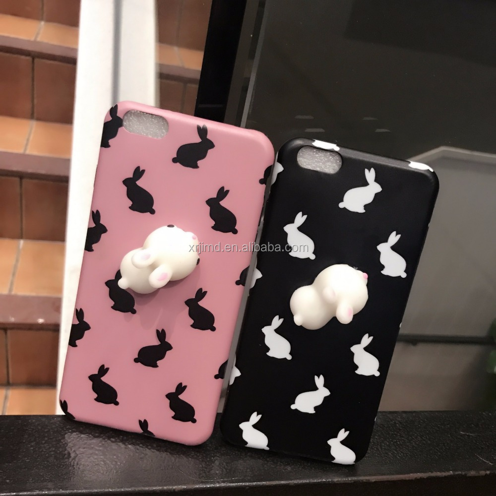 Pink IMD silicone tpu 3D Squishy squeezed Rabbits with printed animals phone case for iphone 6p/7p, phone case private label