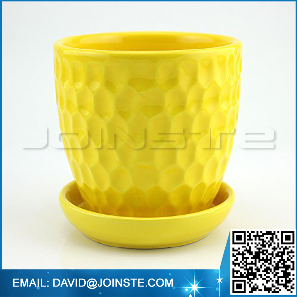 Yellow ceramic Pineapple Design flower pot with saucer
