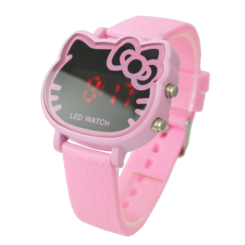 Montre Enfant Cute pink Hello kitty Led Digital Watch For Children Girls Fashion Lady Rubber Strap Wrist Watch Relogio Esportivo