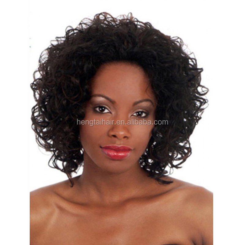 Short Curly Brown Synthetic Wigs MIxed Color Glueless Futura Heat Resistant Synthetic wigs For Black People