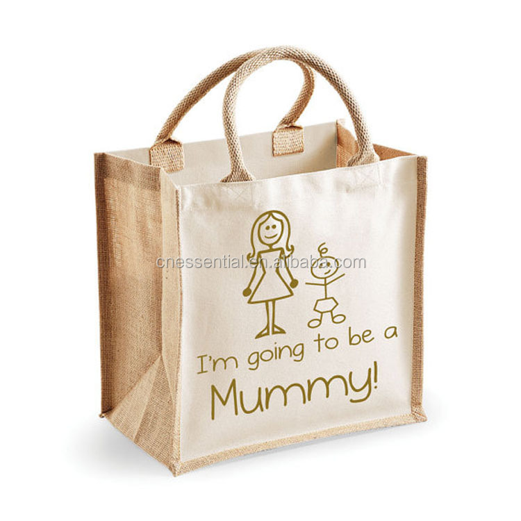Reusable laminated jute bamboo tote carrier shopping bag in high quality