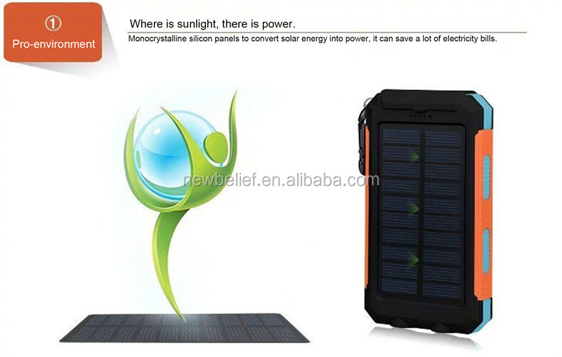 IP66 waterproof solar power banks solar battery charger power bank 2019 factory hot sale solar power bank charger