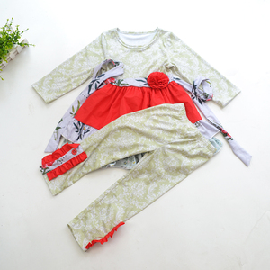High quality baby girl boutique outfits wholesale children girl fall clothes sets kids knit cotton clothing
