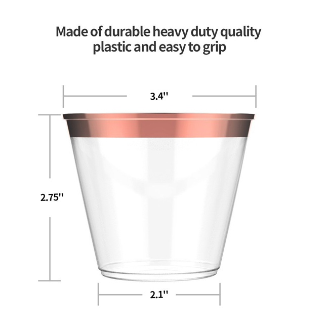 9 oz Disposable Gold Plastic Clear <strong>Cups</strong> - FDA Approved BPA Free Party <strong>Cups</strong> With Gold Rim - Top Choice for Weddings,