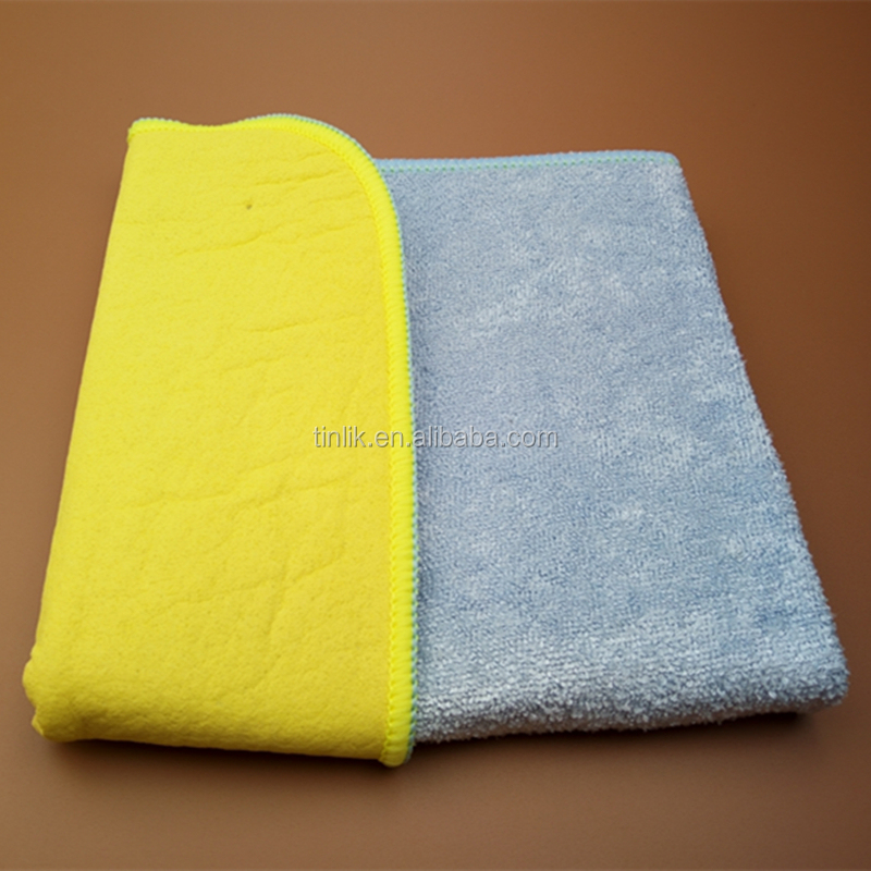 2-Sided Super Absorbent Streak-Free Shine Microfiber & Chamois Windows Cleaning Cloth Dry Wiper