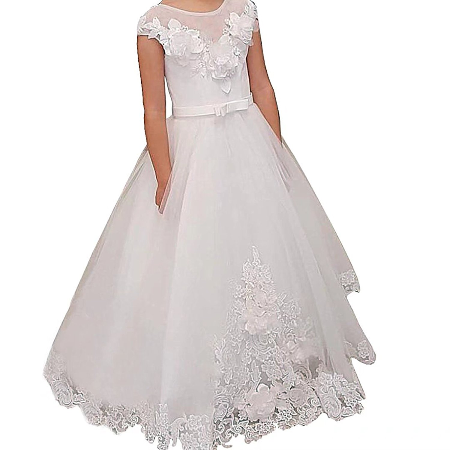 4dab0158005 Get Quotations · Boloni Dress Flower Dresses for Girls Tulle Skirt Holy  First Communion Dress Plus Size Dresses for