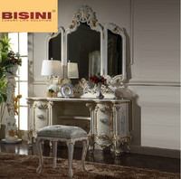 Bisini Wooden Dresser Furniture, European Dressing Table with Mirror