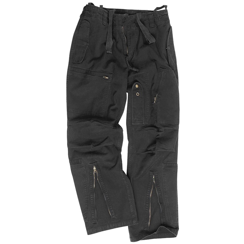 Mil-Tec Mens Pilot Trousers Poplin Cotton Prewashed Olive