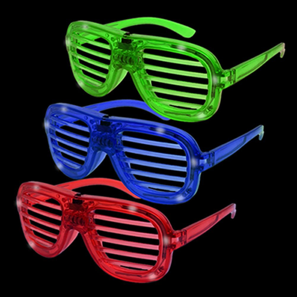 f91c52ed17 Get Quotations · 12ct LED Shade Novelty Light Up Party Fun Glasses - Rock Hip  Hop Sunglasses Rock Star