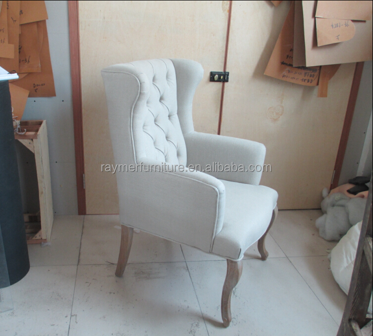 french country style rustic print fabric tufted high back dining chair