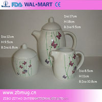 japanese teapot set with decal