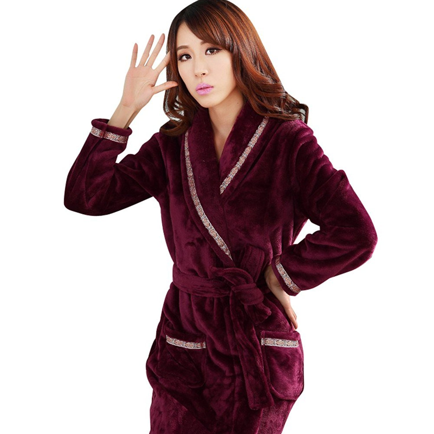 bd84f7c870 Get Quotations · Fashionpjs Flannel Fashion Matching Couples Women Men  Pajamas Thermal Long Robe
