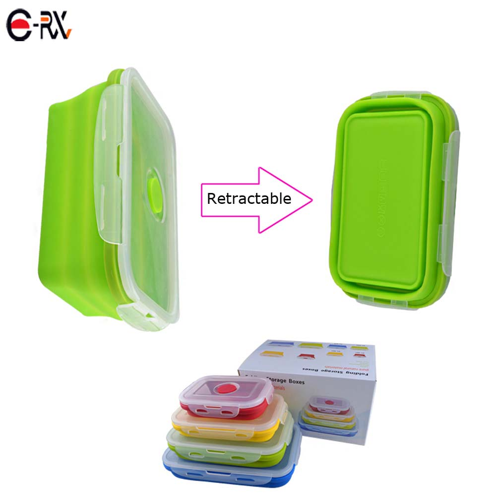 Hot selling Silicone Inklapbare Voedsel Container FDA goedgekeurde Siliconen Lunchbox