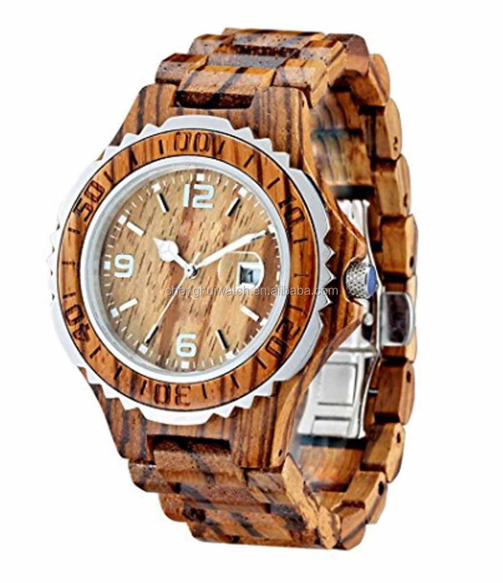 red sandal bezel and middle band parts of black sandal wood watch with black dial and hands unique colors fashion wood watches