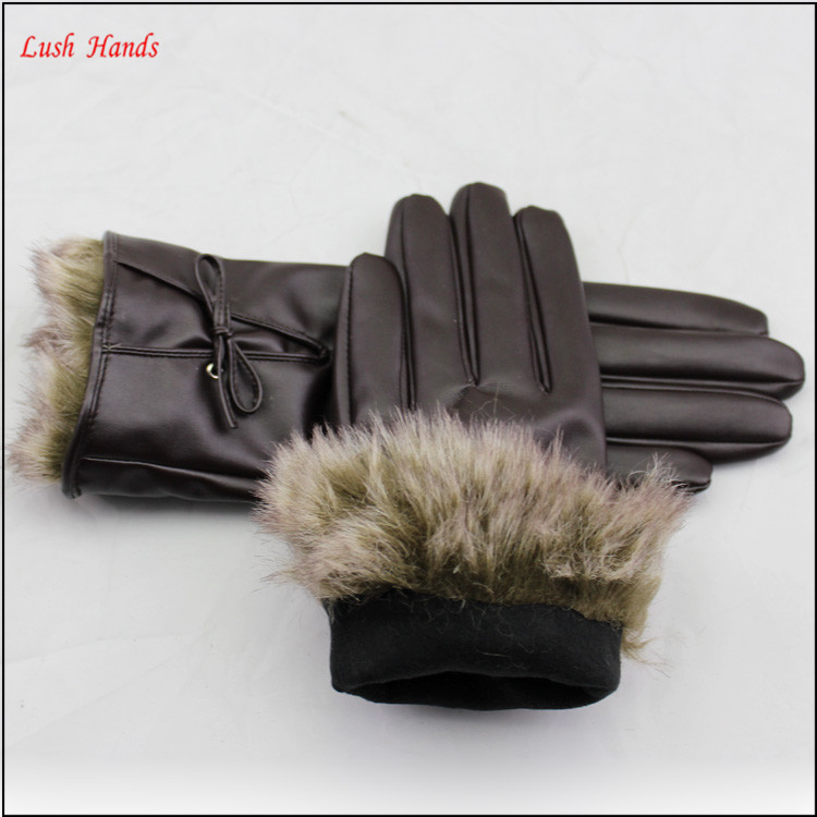 cheap fashion faux rabbit fur cuff PU leather glove women
