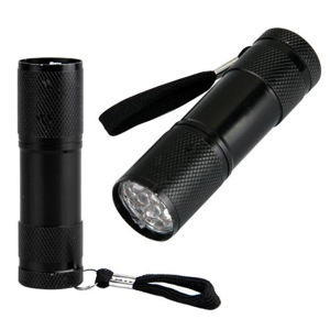Aluminum Alloy AAA Dry Battery Pocket Keychain Promotional Mini UV 9 Led Torch Flashlight