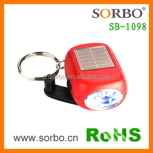 Mini Solar Flashlight Keychain Crank Dynamo LED Flashlight Keychain