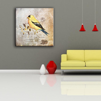 Beautiful yellow bird pop wall canvas art painting designs for living room