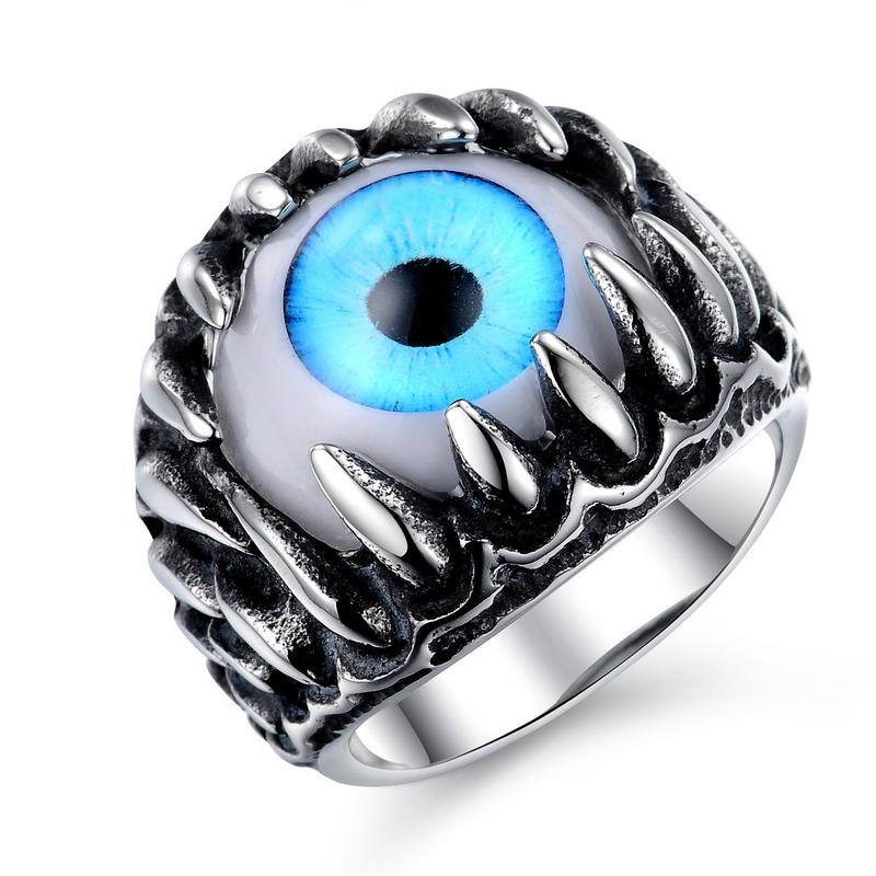 Vintage Dragon Claw Black Devil Eye Skull Stainless Steel Rings Evil Eye Ring