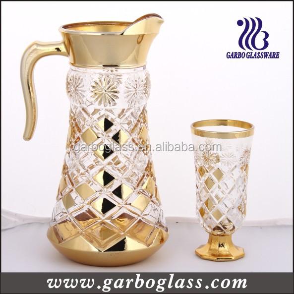 7pcs Gold Plating Engraved Glass Drinking Set,Nice Designed Middle ...