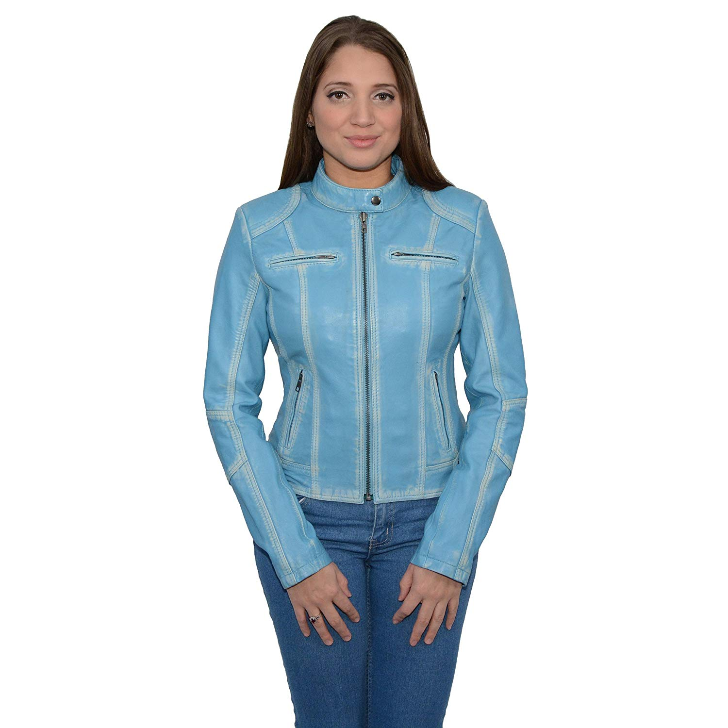 Milwaukee Leather Women's Sheepskin Scuba Style Moto Jacket (Aqua, Large), 1 Pack