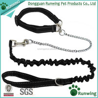 Durable Nylon Pet Dog Collar and Bungee Leash Set with Half Chain