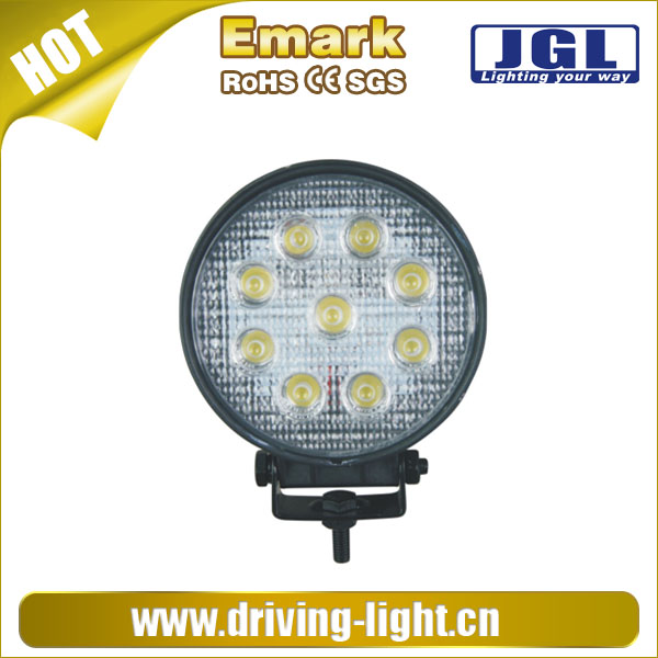 27w round led work light 12v 24v led headlight for trucks,auto parts,tractors