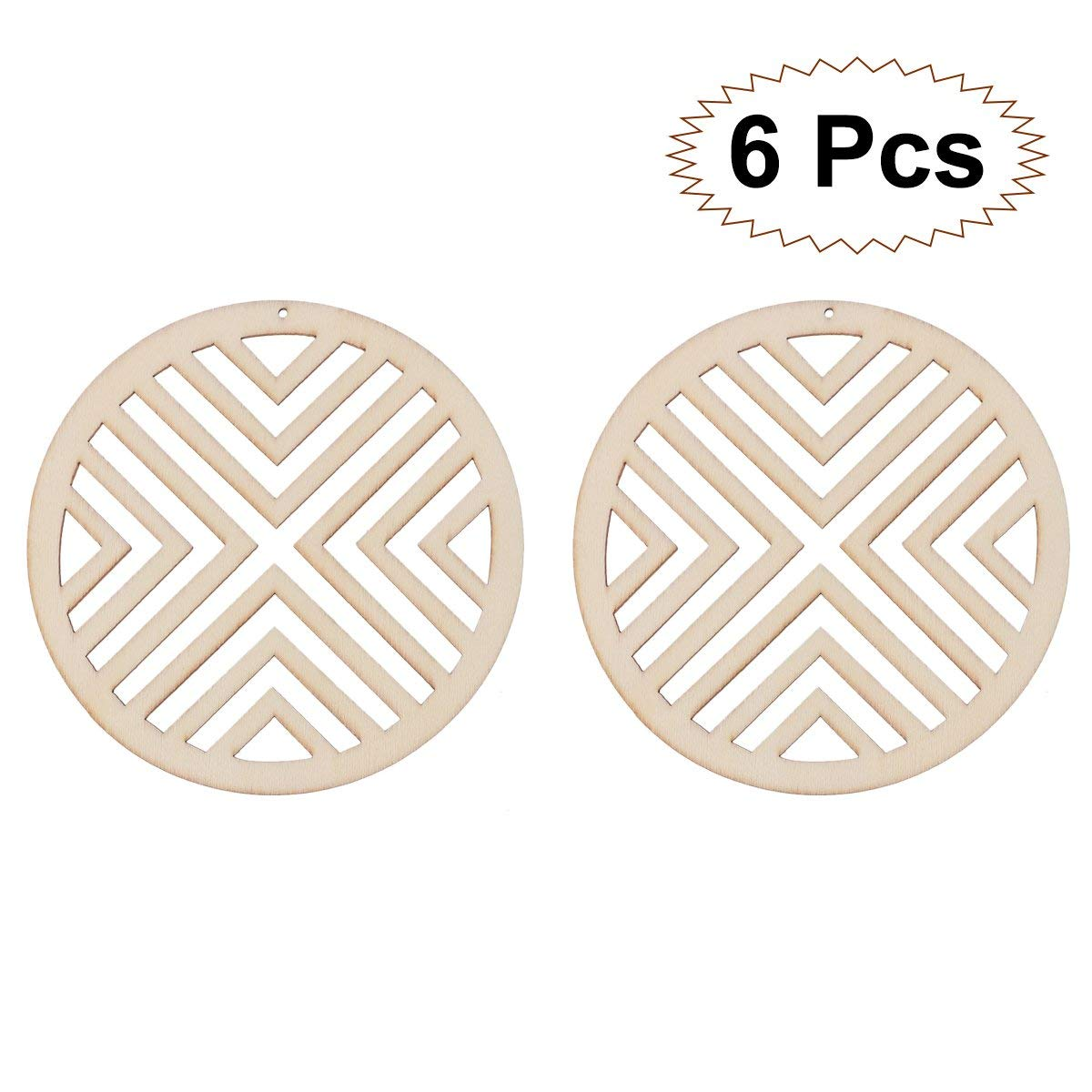 LUOEM 6PCS Wooden Crafts Embellishment Hollow Round Cutout Veneers Slices For Patchwork DIY Crafting Decoration Christmas Tree Pendants Hanging Ornaments Wood Tag For Wedding Party