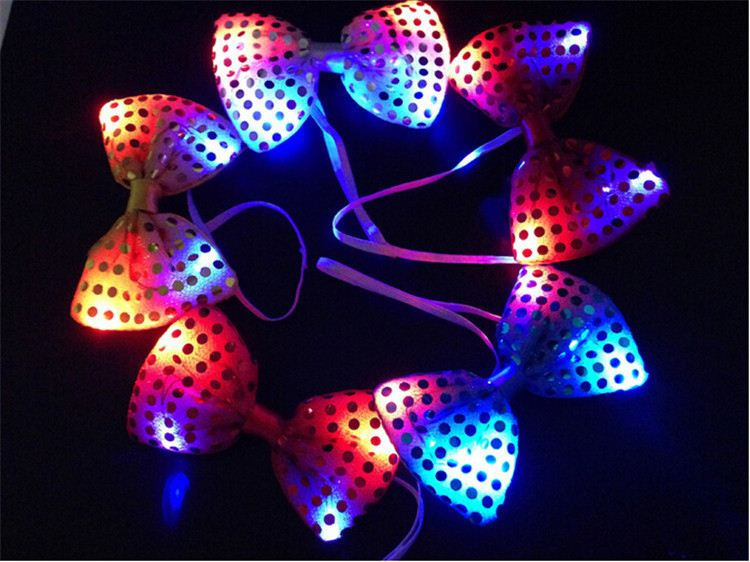 30PCS Halloween Christmas Wedding Party Glowing tie light up toy Female/Male flashing led bow tie dancing stage <strong>decoration</strong>