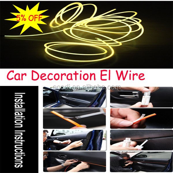 Customized length thin cold light el wire/Fluorescent el wires for decoration