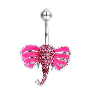 Surgical Steel Dangle Crystal Gem Enamel Elephant Belly Button Ring